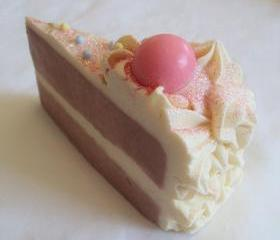 Bubblegum Soap Cake Slice Made with Unrefined Fair Trade Shea Butter, Cocoa Butter and Pure Silk Soap Slice / Handmade cold process soap